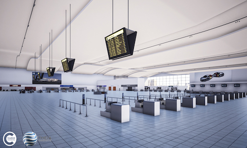 Image of the virtual airport environment created by researchers at Cranfield University.